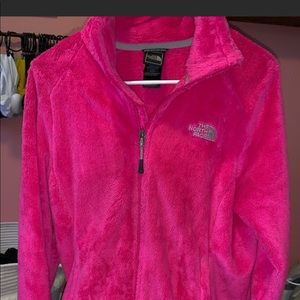 Pink North face fuzzy jacket